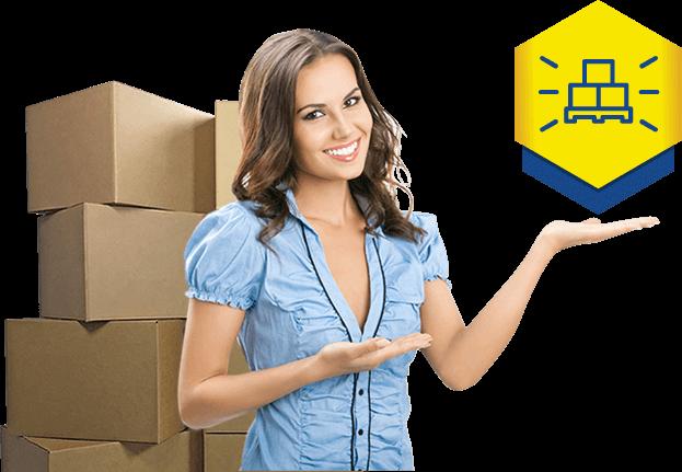 mulher banner do box acnt self storage e depósito guarda móveis e estoque